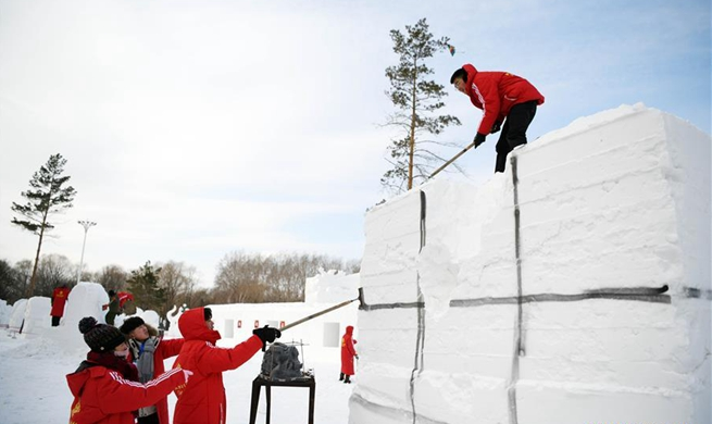 Four-day snow sculpture competition of college students opens in Harbin