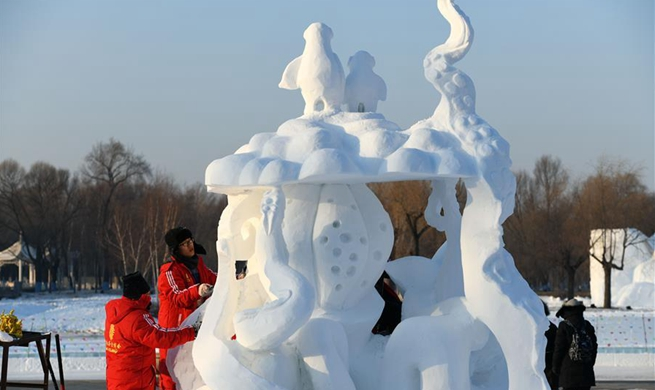 Snow sculpture competition of college students held in Harbin
