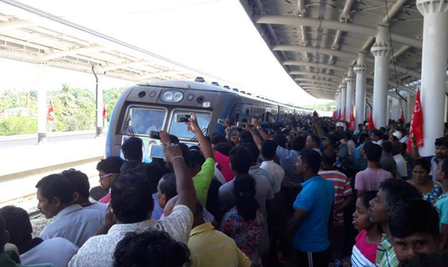 Sri Lanka conducts test run on China-funded southern railway line