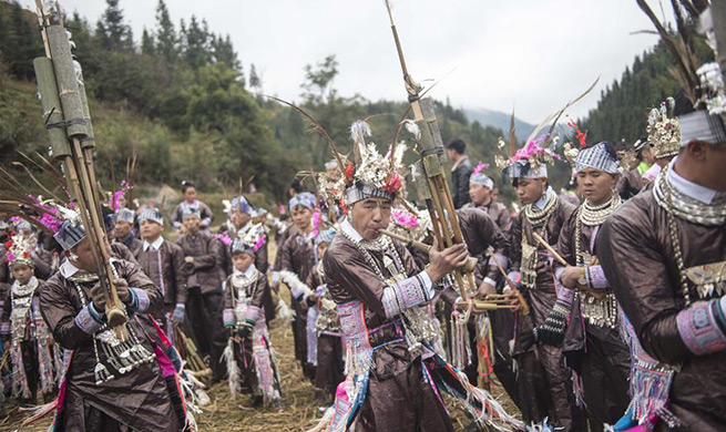 Miao people celebrate traditional Lusheng Festival in SW China's Guizhou