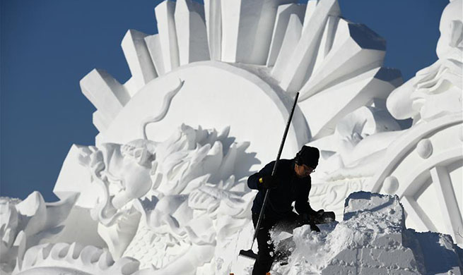 24th Harbin Int'l Snow Sculpture Competition starts in China's Heilongjiang