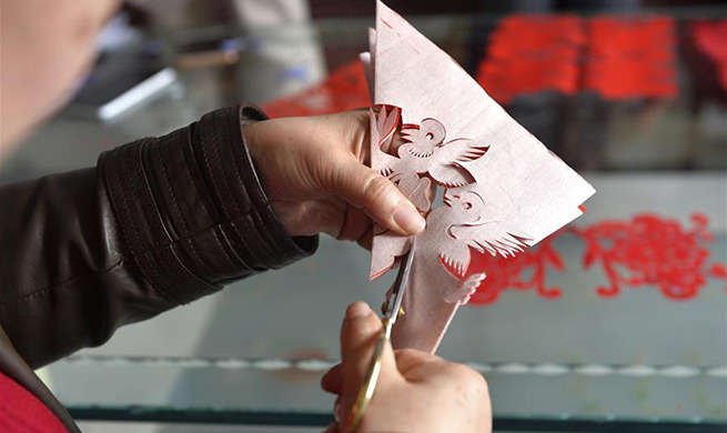 In pics: paper-cutting inheritor in NW China's Gansu