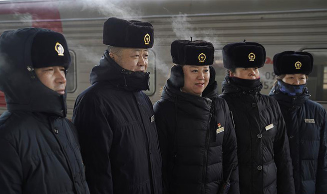 Train conductors work in freezing cold weather in N China's Manzhouli