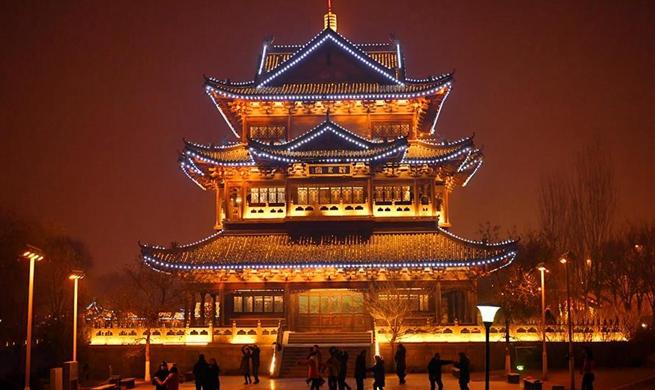 Energy-efficient lighting illuminates Taiyuan city at night