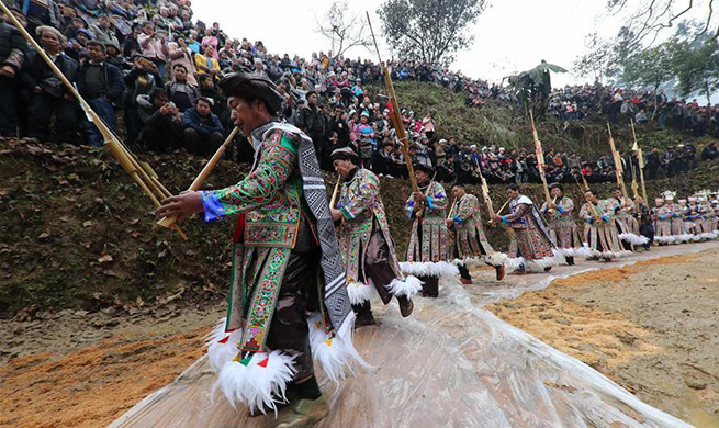 Miao people celebrate Guzang Festival in SW China's Guizhou
