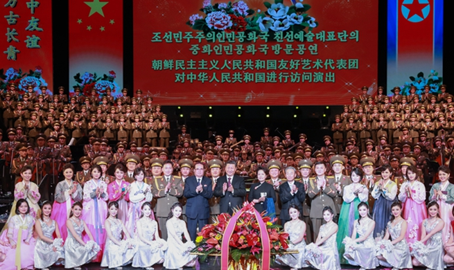 Xi and his wife meet senior DPRK official, watch art performance