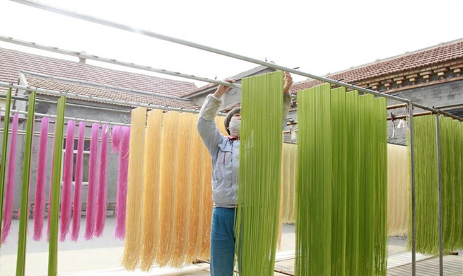 In pics: colored noodles at workshop in Binzhou, east China's Shandong