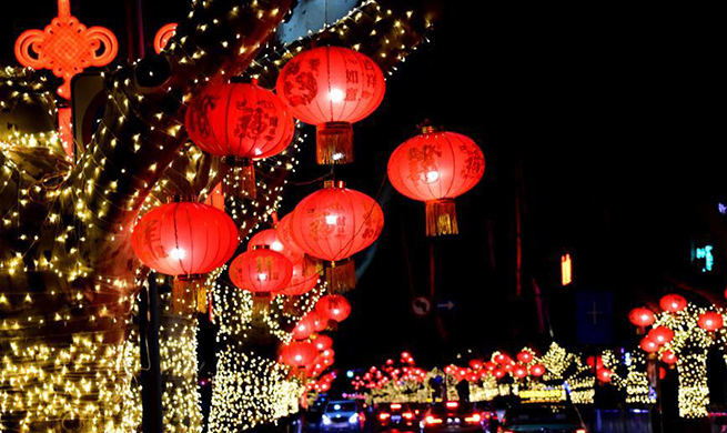 Streets decorated with red lanterns in Zhengzhou, China's Henan