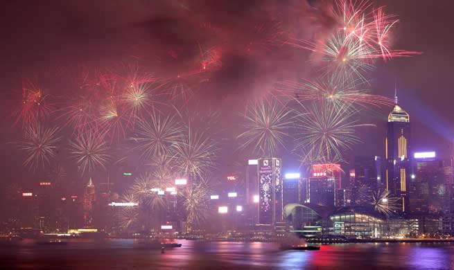 Hong Kong holds fireworks show to celebrate Lunar New Year