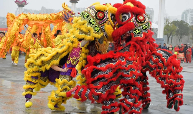 Performers present Lion and dragon dance to celebrate Chinese new year in E China's Jiangxi