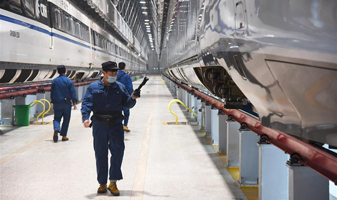 Fuxing bullet trains under maintenance in Jinan, China's Shandong