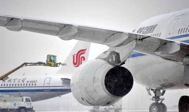 Deicing works underway at Beijing Capital International Airport