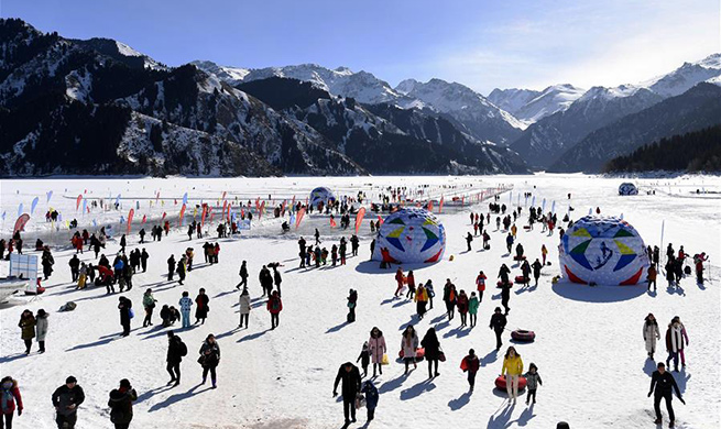 Tianchi scenic area attracts visitors in northwest China's Xinjiang