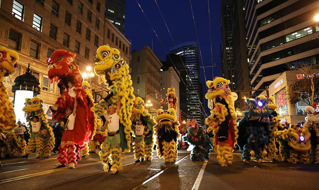 Parade celebrating Chinese Spring Festival held in San Francisco