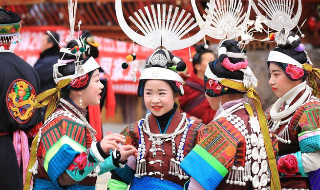 Miao people perform lusheng dance to pray for harvest in SW China