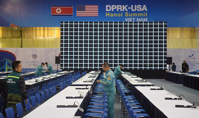In pics: media center of DPRK-USA summit in Hanoi, Vietnam