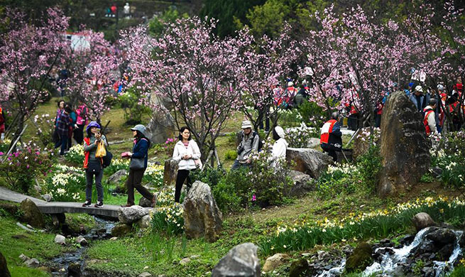 Tourists enjoy scenery of Yangming Mountain Park in Taipei