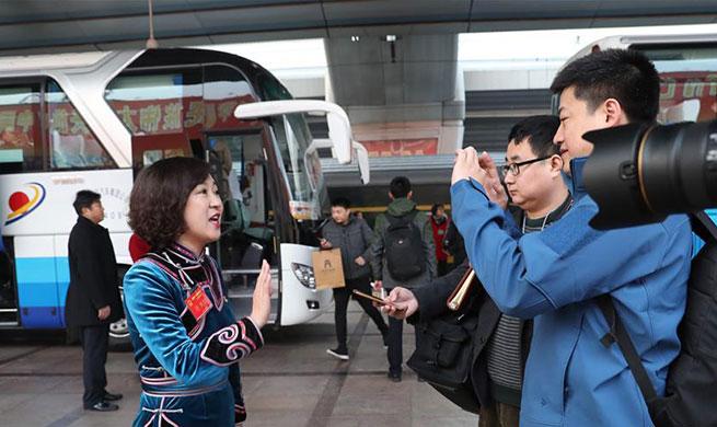 Deputies to 13th NPC from China's Heilongjiang arrive in Beijing