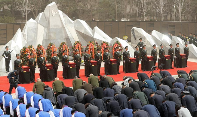 China holds burial ceremony for soldier remains returned from ROK