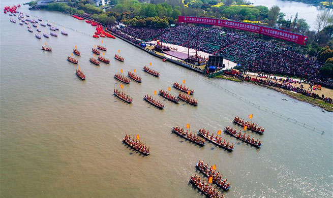 People celebrate centuries-old Qingtong Boat Festival in China's Jiangsu