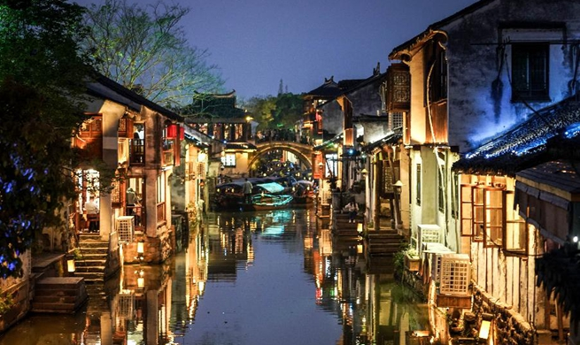 Night view of Zhouzhuang ancient town in Kunshan, E China's Jiangsu