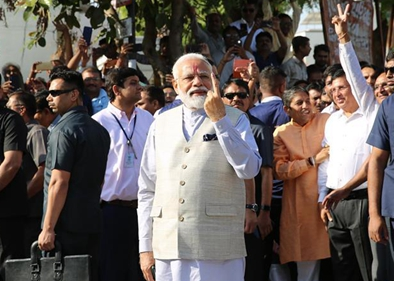 Indian PM casts vote as 3rd phase of elections underway in India