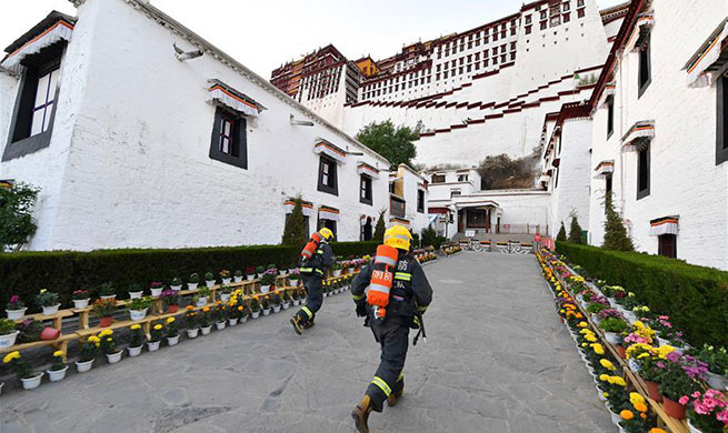 Firefighters conduct emergency drill at Potala Palace in Lhasa, China's Tibet