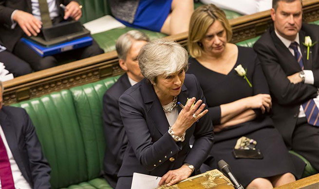 Theresa May attends Prime Minister's Questions at House of Commons in London