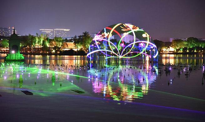 Visual arts performance staged at Daming Lake scenic spot in Ji'nan, E China