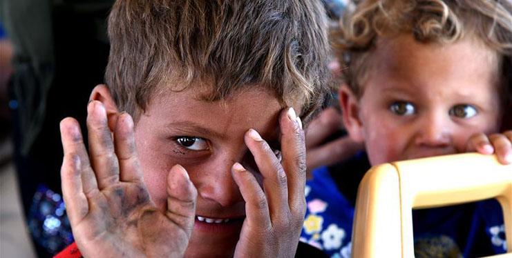 Syrian refugees from Rukban camp arrive Jlaighem crossing in Syria