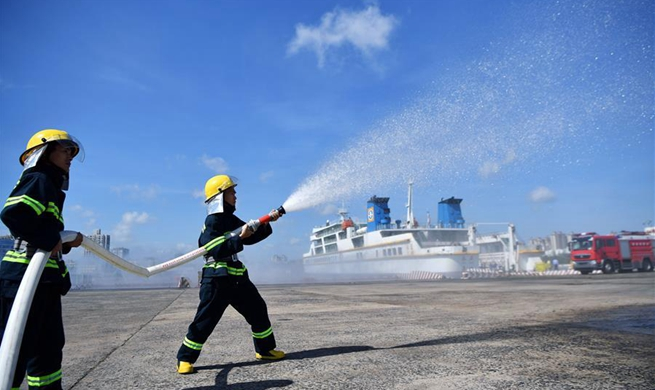 Emergency drill for vessels loaded with dangerous cargos held in Haikou, China's Hainan