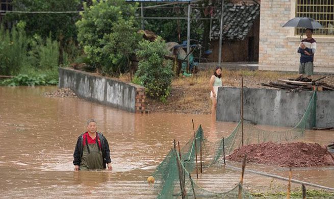 Heavy rains cause flood in east of Hunan Province