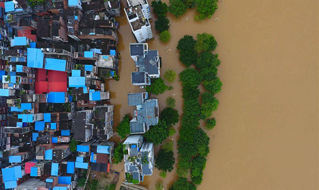 Water level of Liujiang River hits record high