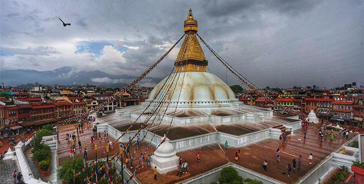 People visit Boudhanath Stupa in Kathmandu, Nepal