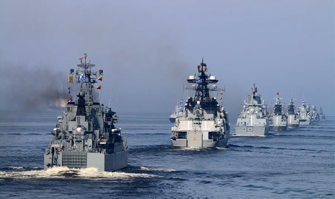 Navy Day parade held in St. Petersburg, Russia