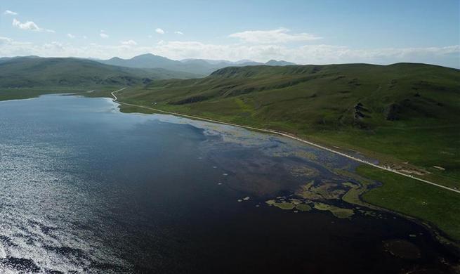 Area of Gahai Lake expanding in northwest China's Gansu