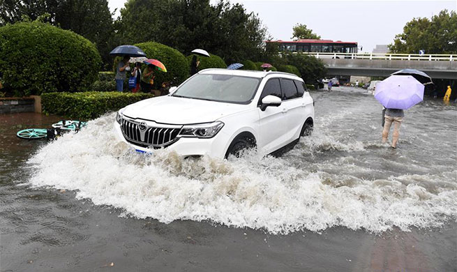 Roads in downtown Tianjin flooded due to heavy rain