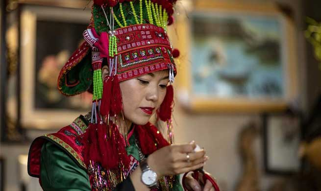 Cooperative specializing feather art in China's Yunnan boosts locals' income
