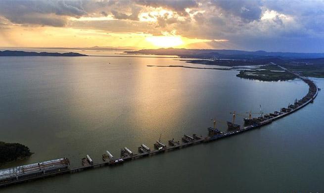 Xinmiao Lake Grand Bridge under construction in China's Jiangxi