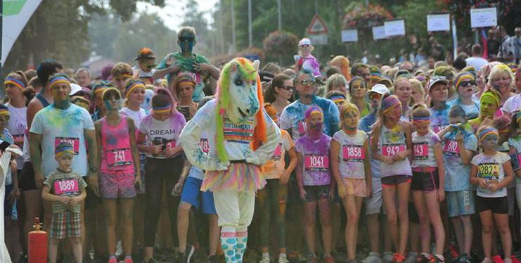 People participate in Color Run in Jurmala, Latvia
