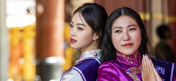 Models present Tibetan outfits during 23rd Mrs. Globe in Tibet