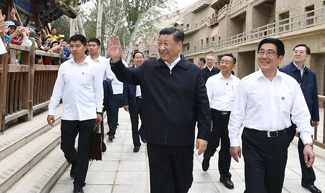 Xi visits cultural heritage site in Gansu