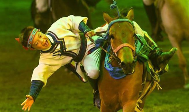"Horse dance show ""Eternal Horse Ode"" staged in Hohhot"