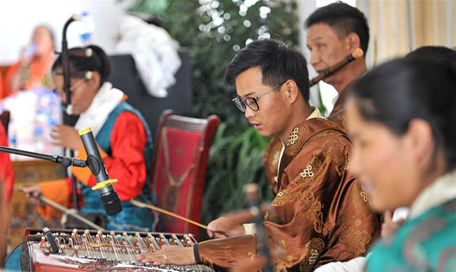 Visually impaired musicians perform for senior citizens at nursing home in China's Tibet
