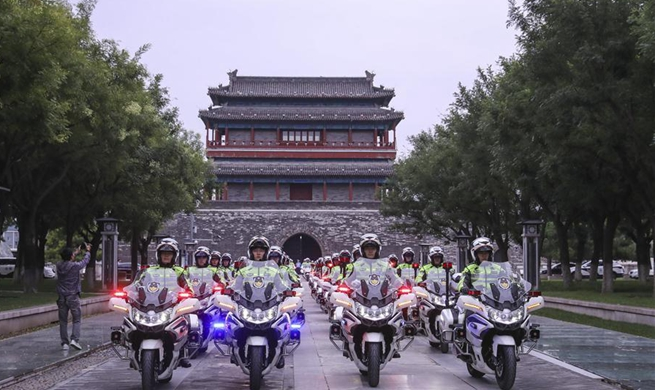 First batch of traffic policemen begin to patrol in Beijing on motorbikes
