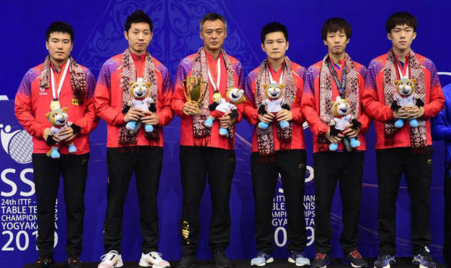China overpowers S. Korea for men's team title at Asian Table Tennis