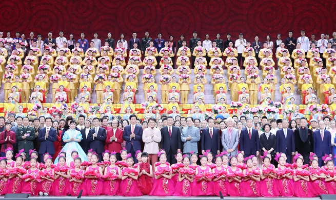 China holds art performance to celebrate 70th founding anniversary of PRC