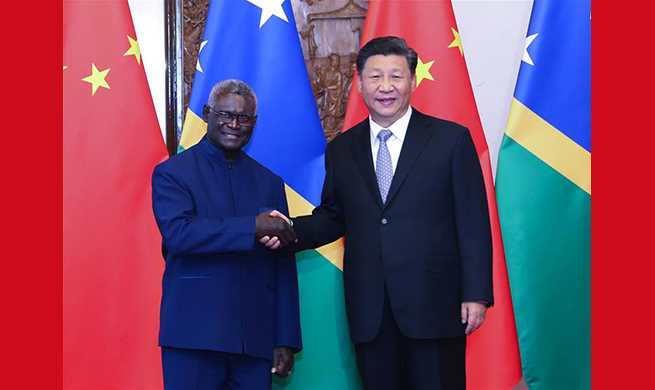 Chinese president meets Solomon Islands PM, pledging closer cooperation