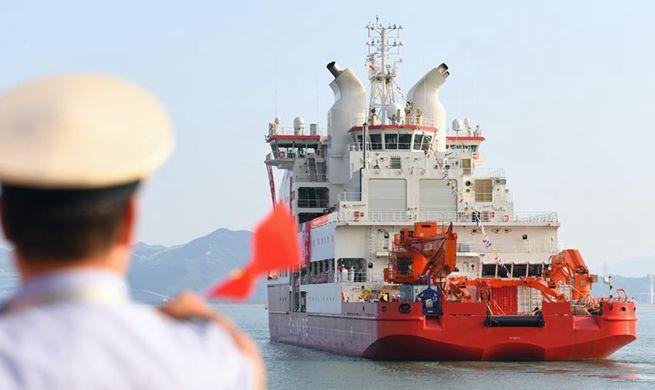 China's first homegrown polar icebreaker starts its maiden voyage