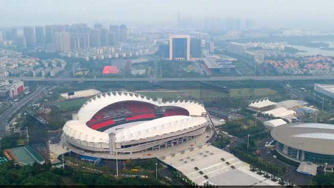 Aerial view of main venue of 7th Military World Games